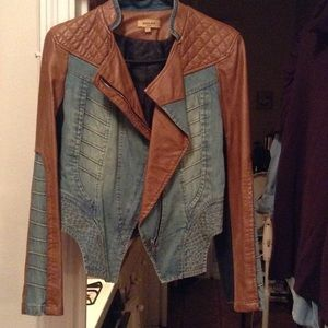 Jackets & Blazers - Beulah faux leather and denim jacket Size L