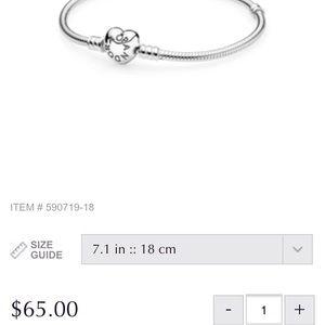 Pandora Jewelry - Pandora Silver Charm Bracelet with Heart Clasp