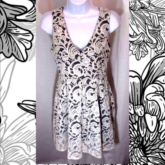 Monteau Dresses Black Dress With White Hilow Lace Overlay Poshmark