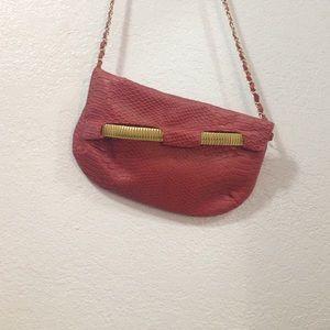 Maroon red snakeskin crossbody bag