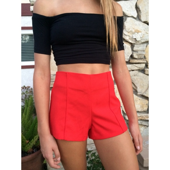 55% off Forever 21 Pants - Forever 21 Red High Waisted Shorts from ...
