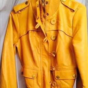 Jackets & Blazers - LIKE NEW Tan faux leather jacket