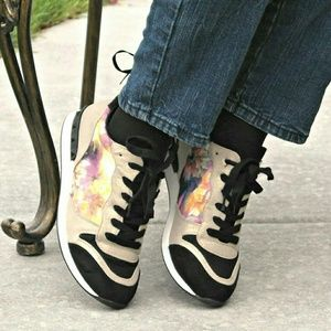 Shoedazzle Shoes - Verity fashion sneakers in black / gold / multi.