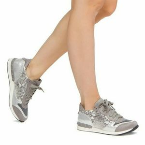 Shoedazzle Shoes - Verity fashion sneakers in grey / silver / snake.