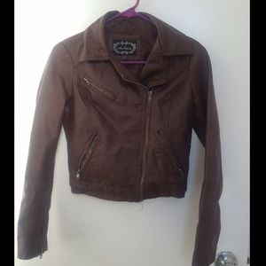Faux Leather Biker Jacket with Zipper (S, Brown)
