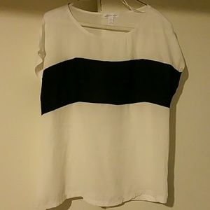 Ambiance Apparel Tops - Black/White Stripe Top