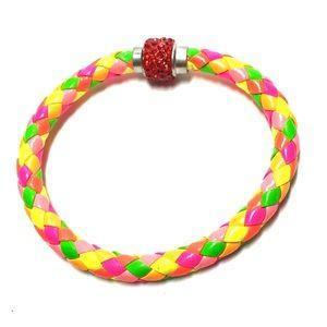 Multicolor fluorescent braided bracelet magnetic
