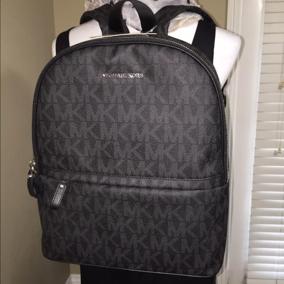 b629ea32e18d NWT MIchael Kors Large Black MK logo backpack