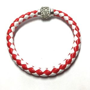  Red white braided bracelet magnetic clasp