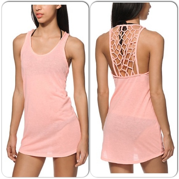 c3417b9cd2bc Coral Macrame Back Beach Cover Up