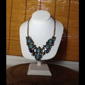 Romeo & Juliet couture blue statement necklace