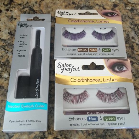 Salon Perfect Makeup 2 Pairs Lashes 1 Heated Eyelash Curler Bundle