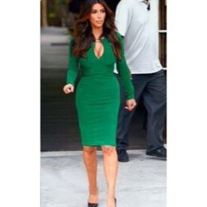 Dresses & Skirts - Green Midi Dress w/Peek a boo opening