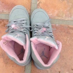 Nike Shoes - Size 6 retro grey and baby pink Nike air jordans