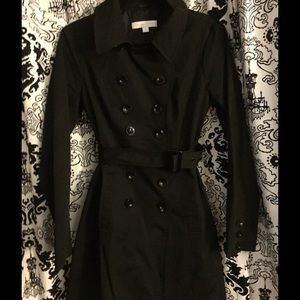 Double Breasted Black Trench Coat with belt! NWOT