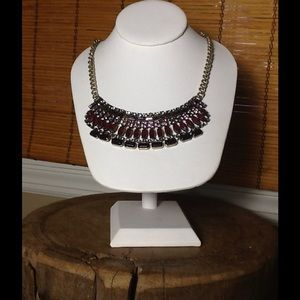 Romeo & Juliet couture red statement bib necklace