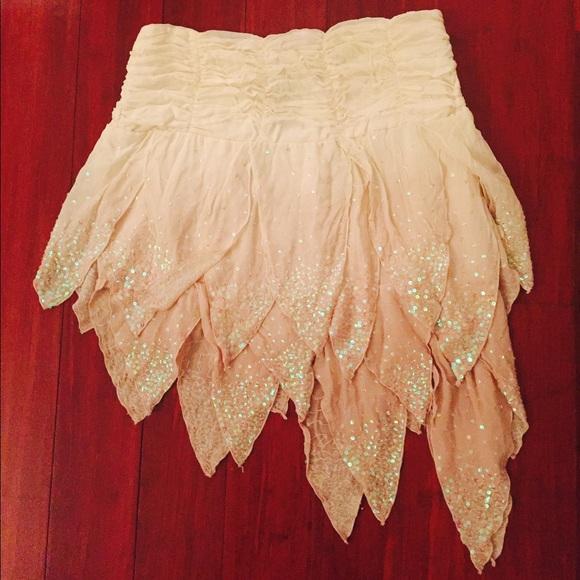 Asymmetrical Sequin Skirt
