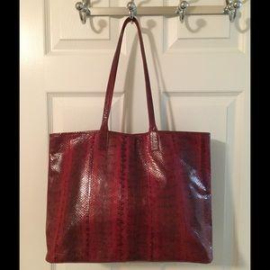 Beirn Handbags - 🛍 Beirn Red Grace Water Snake Skin Tote Bag