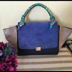 39% off Celine Handbags - Authentic Celine Tri-Color Blue Suede ...