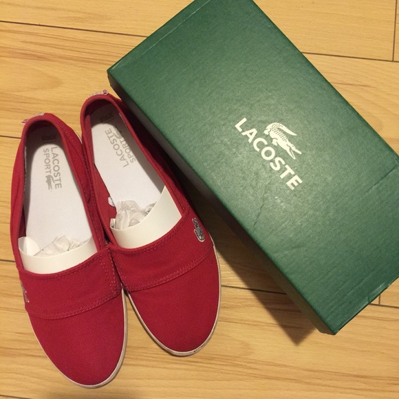 8d162c1ef Lacoste Shoes - Pre owned  authentic Lacoste Red Slip On Sneakers