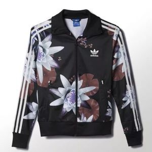New Women's Adidas Lotus Print Track Jacket