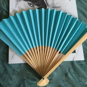"""44 9"""" Turquoise Paper Hand Fan for Weddings"""