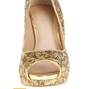 Nine West Gold Glitter Heels