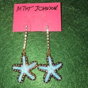 Betsey Johnson blue starfish earrings
