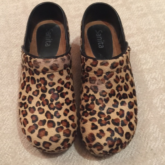 92 Off Santina Shoes Sanita Leopard Print Clogs