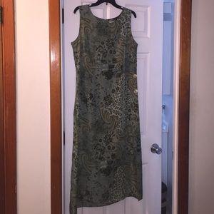 Olive Green Print Dress - Size L 12/14