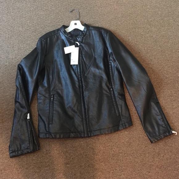 a30dc8eb1 UNIQLO black faux leather jacket NWT