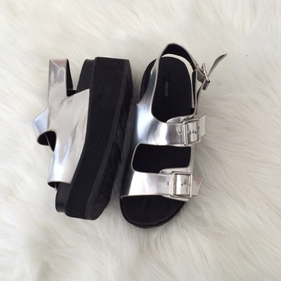 Forever 21 Shoes - Forever 21 Silver Platform Sandals 103b04b9a3