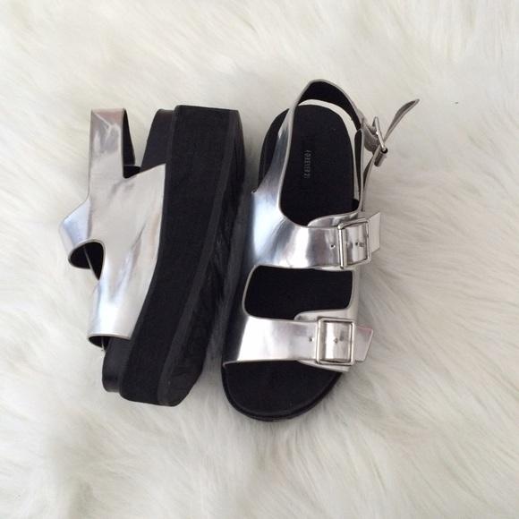 Forever 21 Shoes - Forever 21 Silver Platform Sandals e0d396e980