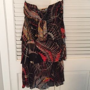 LaRok strapless silk tired print dress XS