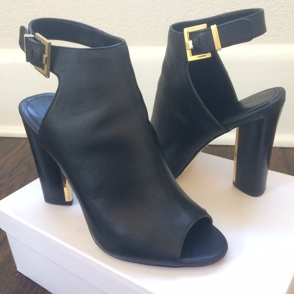 ae2c786dccde Calvin Klein Black Leather Peep Toe Buckle Booties