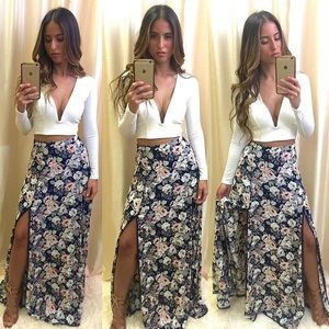 Navy Floral Double Slit Crochet Trim Maxi Skirt