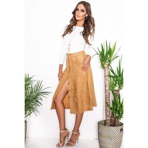 Camel Suede Button Up Midi Skirt
