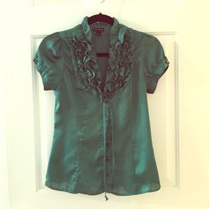 Green silky blouse with ruffles