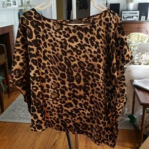 Vince Camuto Leopard Print Asymmetrical Top