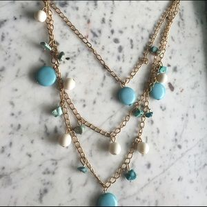 Blue and white with gold chain necklace