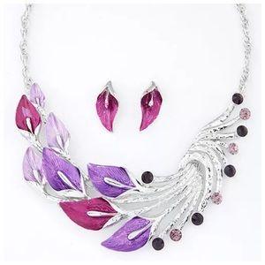 Boutique Jewelry - D16 Art Deco Flower Leaf Pink Purple Necklace