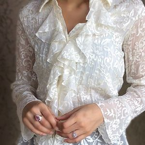 Elegant Lace Sheer Top w/Ruffled Middle