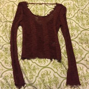 Distressed crop sweater--fits like a small!