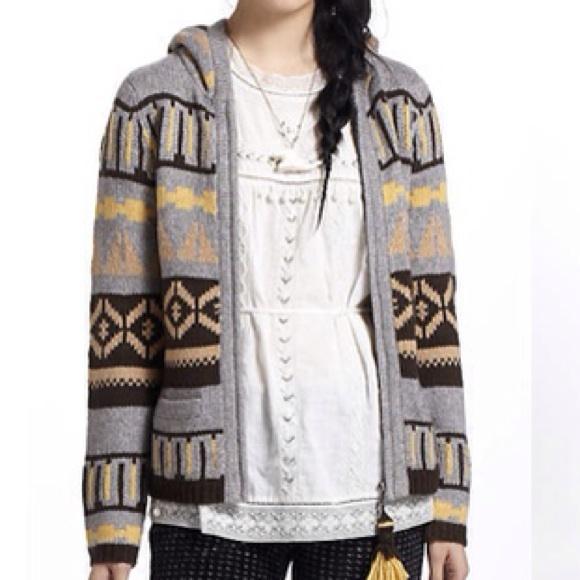 50% off Anthropologie Sweaters - Anthropologie FAIRISLE HOODED ...