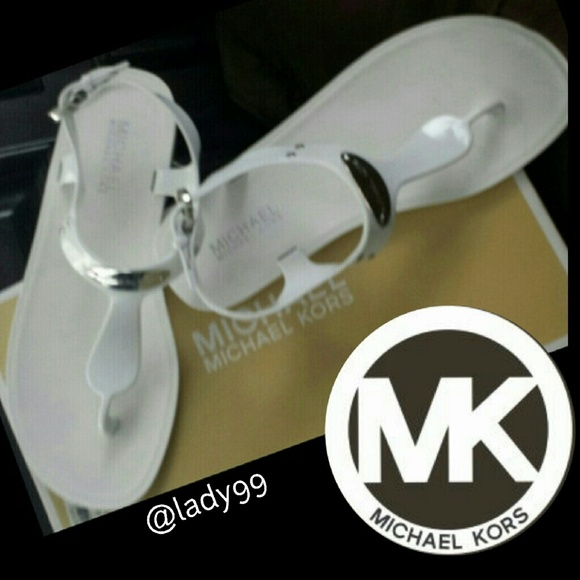 79ea7c06d8ce Mk Plate Jelly sandals white   thong sandales