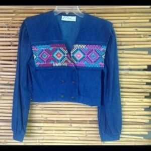 Vintage denim crop top jean jacket