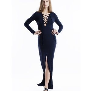 "X ""Envy"" Navy Lace Up Maxi Dress"