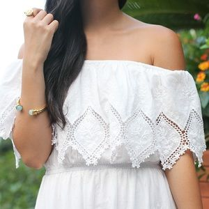 Chicwish Dresses - White Lace Off The Shoulder Maxi Dress d69bbcd26