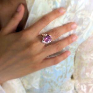 Pink Topaz Gem Ring Size 7-7.5 NWOT