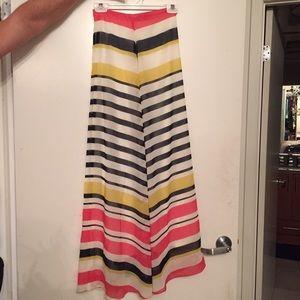 Multi color stripe maxi skirt